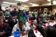 Michelle Obama serves lunch to the poor on MLK Day, 2010