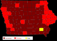 Map of Republican Iowa Caucus Results 2008