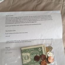 Brandon Jacobs got a $3.36 signing bonus in the mail from a young fan.
