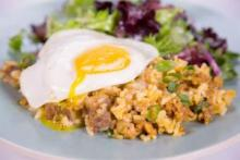clinton's ranch style rice with fried eggs on abc's the chew