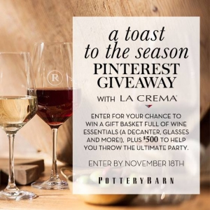 Pottery Barn A Toast to the Season Pinterest Giveaway